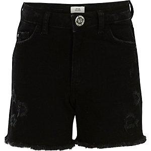 Short en jean noir déchiré pour fille