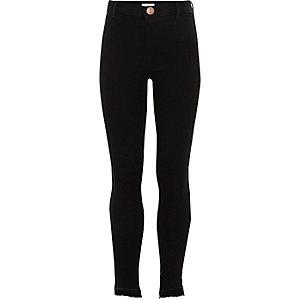 Molly - Zwarte skinny jeans met asymmetrische zoom voor meisjes