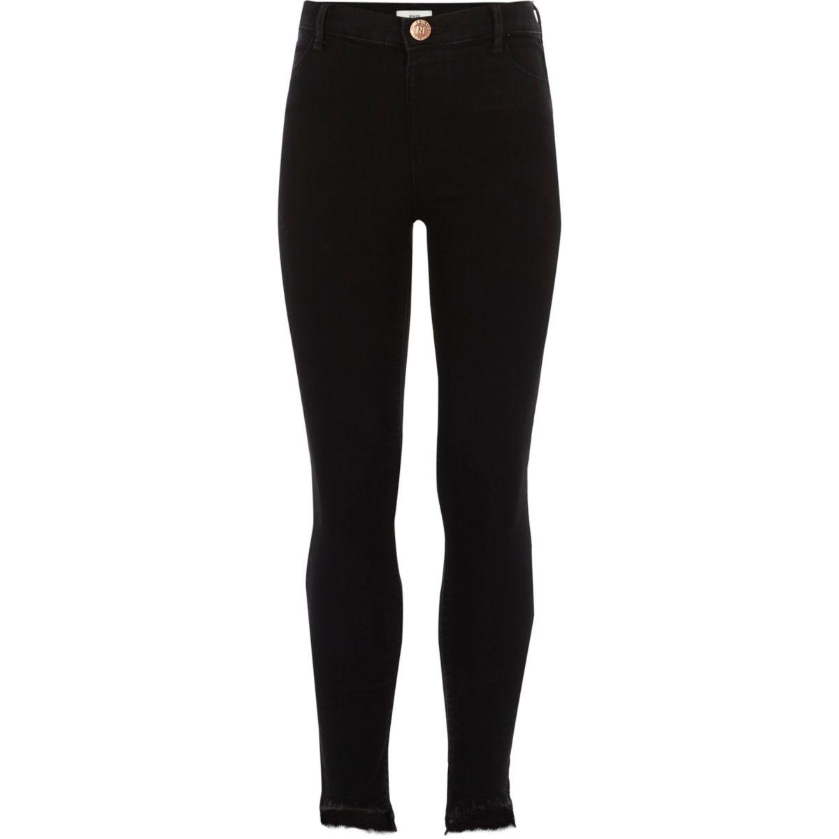 Girls black Molly skinny asymmetric hem jeans