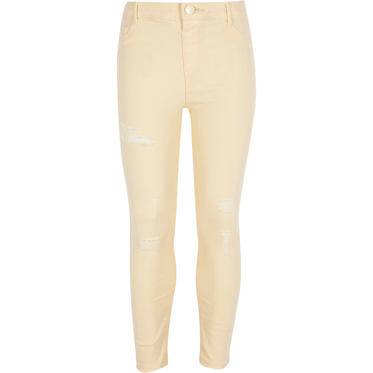 Girls yellow Molly ripped mid rise jeggings