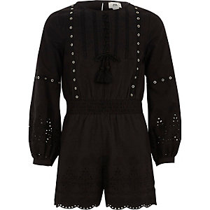 Girls black eyelet trim broderie playsuit