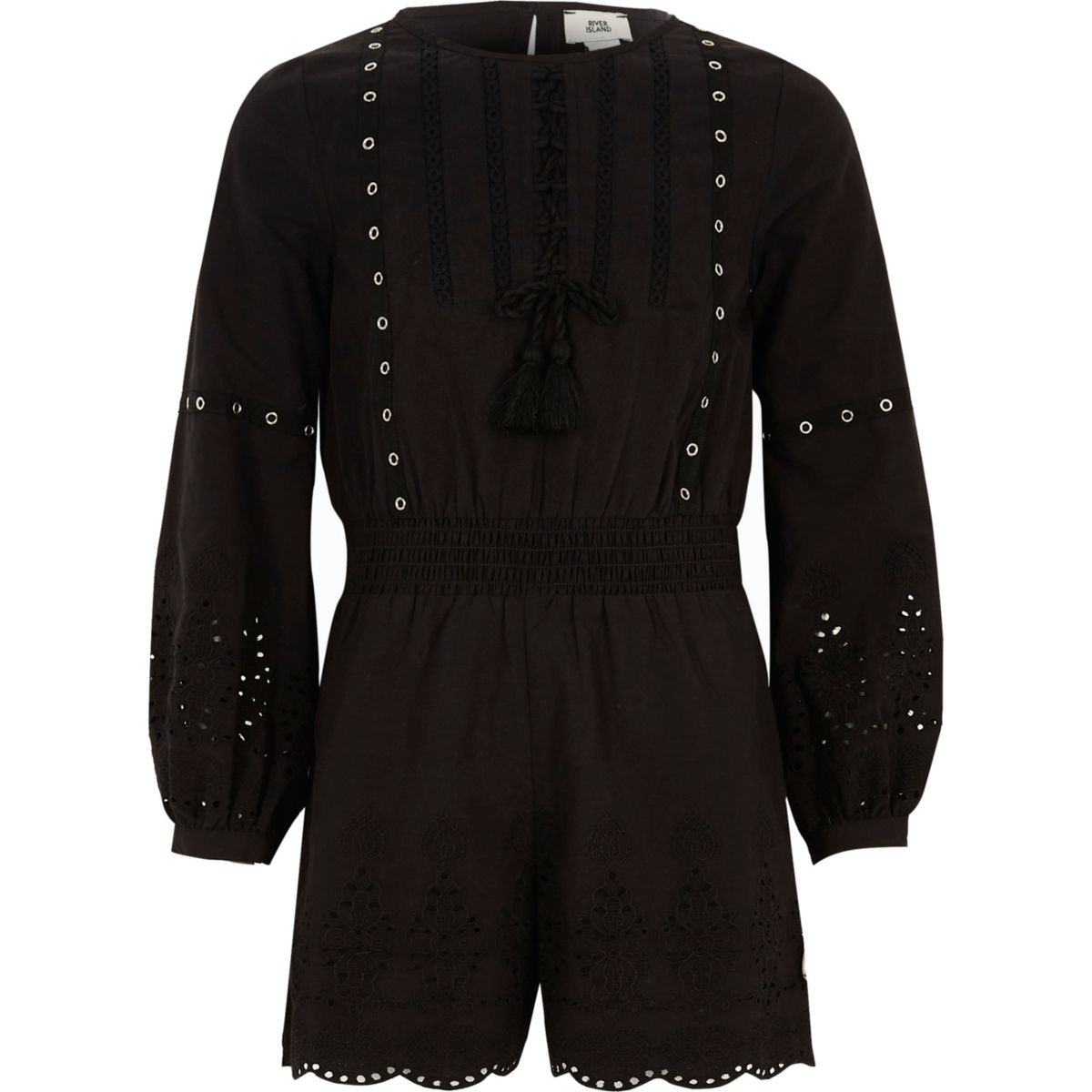 Girls black eyelet trim broderie romper