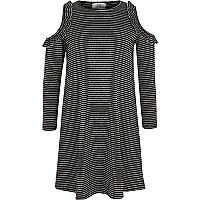 Girls black stripe ribbed cold shoulder dress