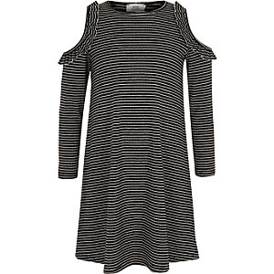 Girls black stripe ribbed cold shoulder dress