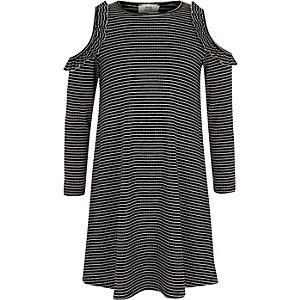 Zwarte gestreepte, geribbelde schouderloze jurk voor meisjes