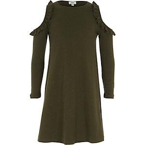 Girls khaki ribbed cold shoulder dress