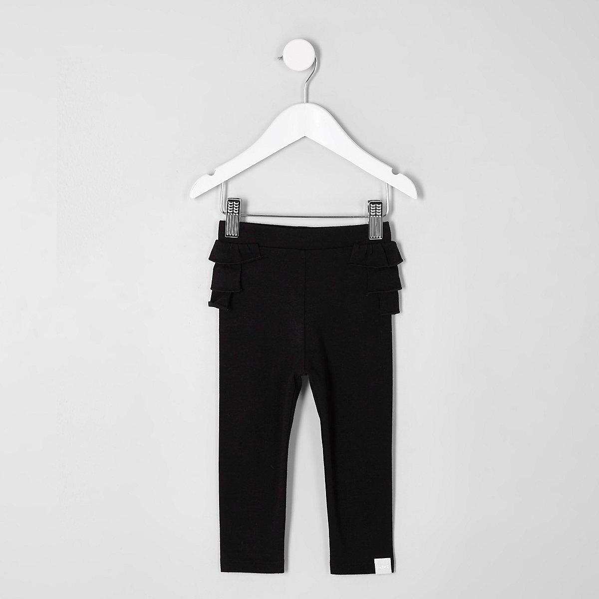 Mini girls black ruffle leggings