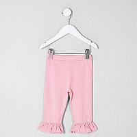 Mini girls pink frill hem cropped leggings