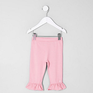 Legging court rose à volants mini fille