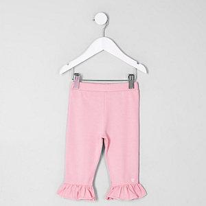 Mini - Roze korte legging met ruches aan de zoom voor meisjes