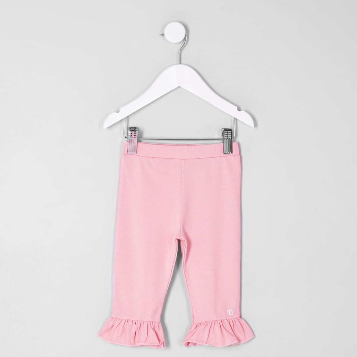 Mini girls pink frill hem cropped leggings