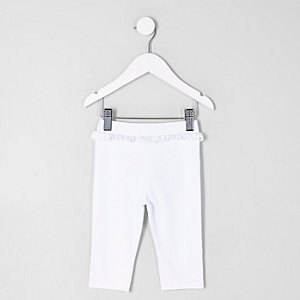 Mini girls white frill waist cropped leggings