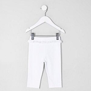 Mini girls white frill waist cropped leggings