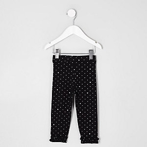 Mini girls black polka dot frill hem leggings