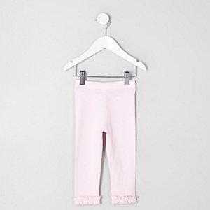 Mini - Roze legging met ruches aan de zoom voor meisjes