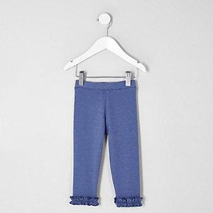 Mini - Blauwe legging met ruches aan de zoom voor meisjes