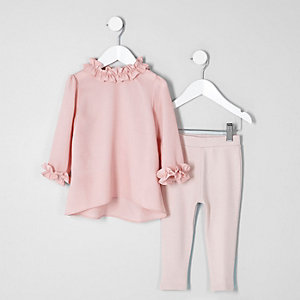 Mini girls pink ruffle top and leggings set
