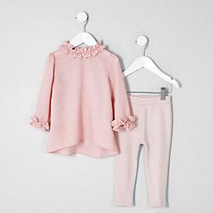 Mini - Roze top met ruches en legging voor meisjes