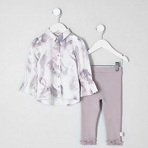 Mini girls grey marble print top outfit