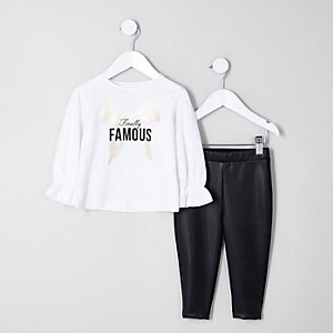 Mini girls white 'finally famous' top outfit