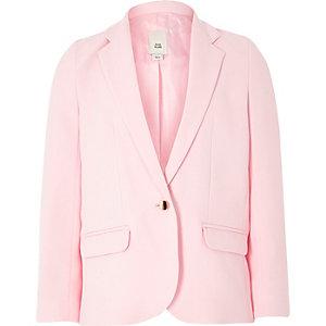Girls light pink slouch blazer