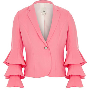 Girls bright pink frill sleeve blazer