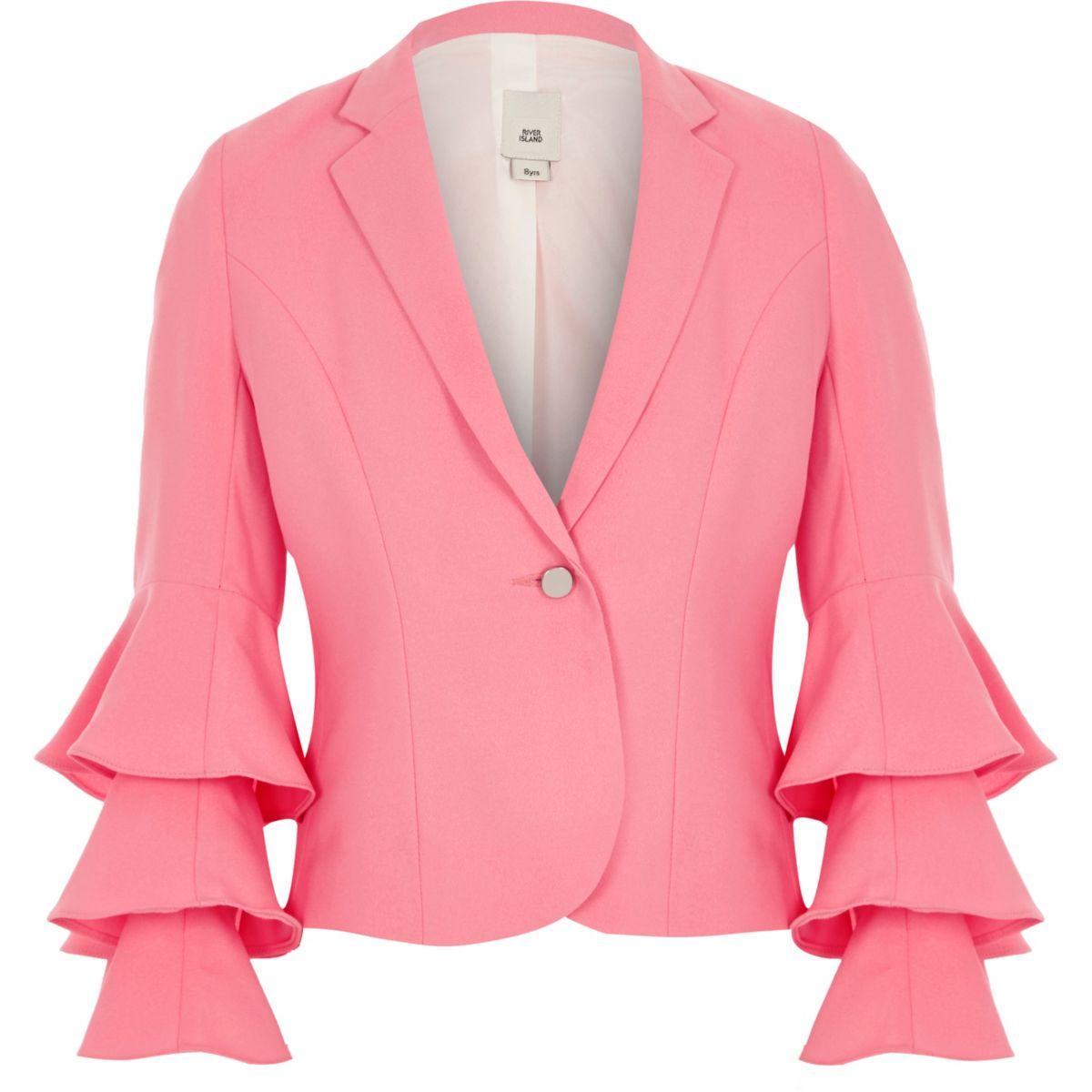 Girls bright pink frill sleeve blazer