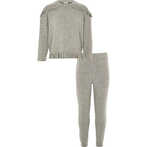 Girls grey knit frill joggers set