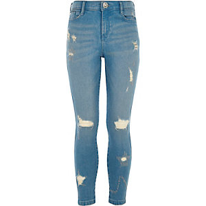 Girls blue star ripped Amelie skinny jeans