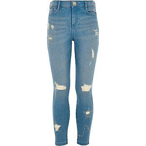 Amelie - Blauwe skinny jeans met sterren voor meisjes