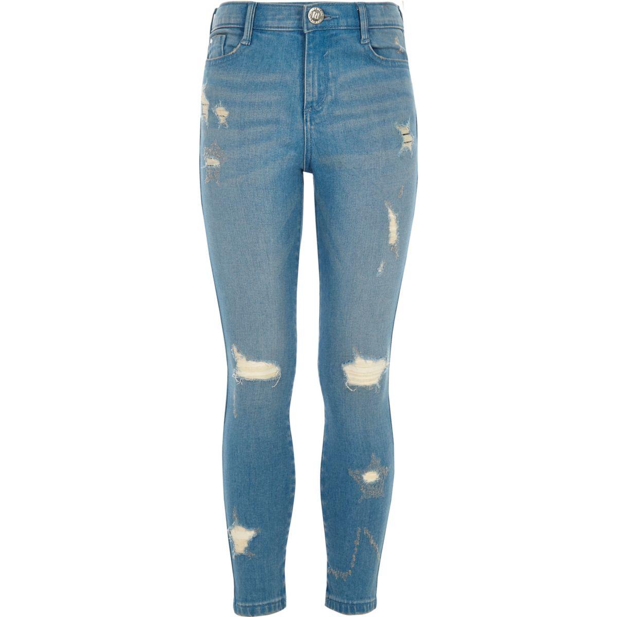 amelie jean skinny bleu d chir motif toile pour fille jeans skinny jeans fille. Black Bedroom Furniture Sets. Home Design Ideas