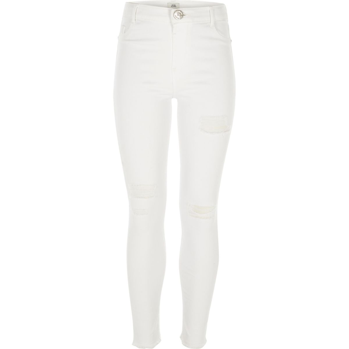 Girls white Amelie ripped skinny jeans - Jeggings - Jeans ...
