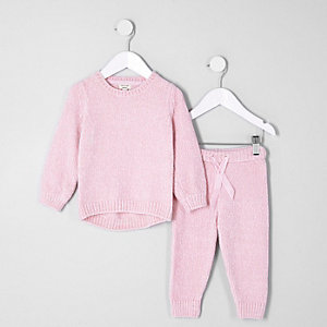Ensemble avec pull chenille rose clair mini fille