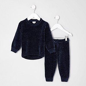 Mini - Outfit met marineblauwe chenille gebreide pullover voor meisjes
