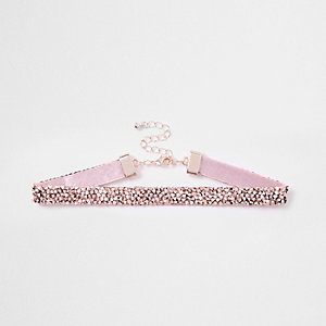 Girls rose gold sparkle stud choker