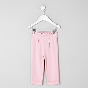 Mini girls pink frill waist trousers