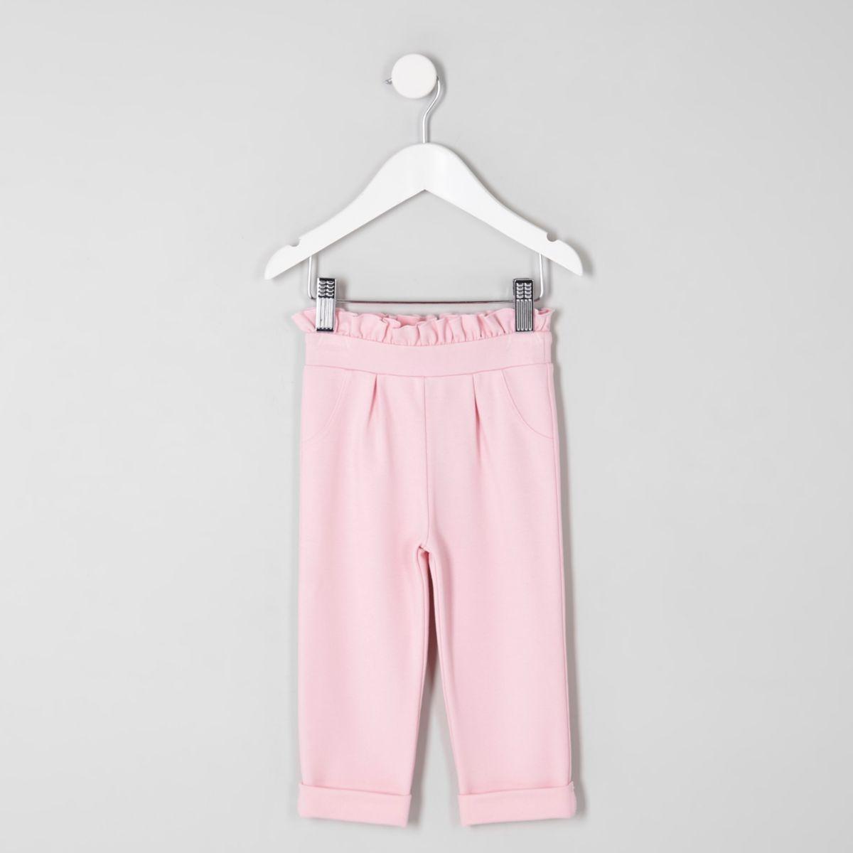 Mini girls pink frill waist trousers