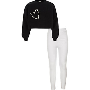 Girls black embellished crop sweatshirt oufit