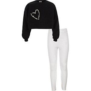 Outfit met zwart versierd cropped sweatshirt voor meisjes
