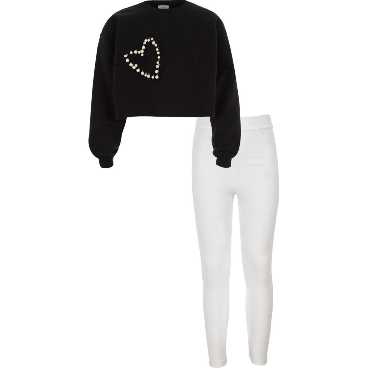 Girls black embellished crop sweatshirt oufit