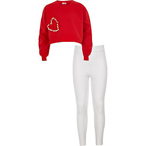 Girls red embellished crop sweatshirt oufit