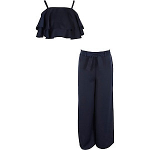 Girls navy satin layer crop top outfit