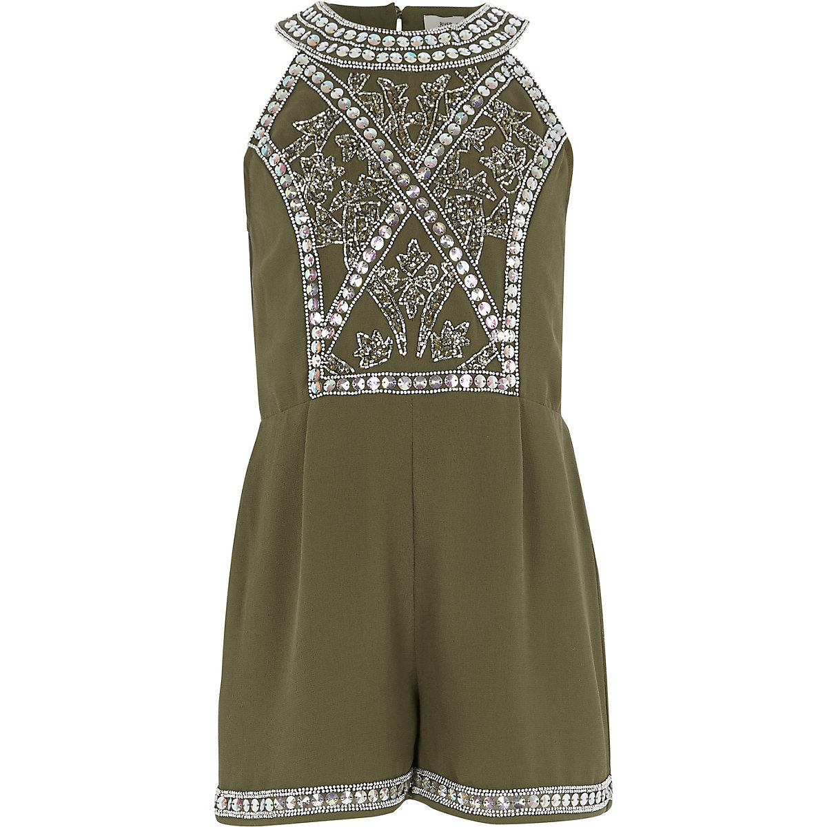 Girls khaki green embellished playsuit