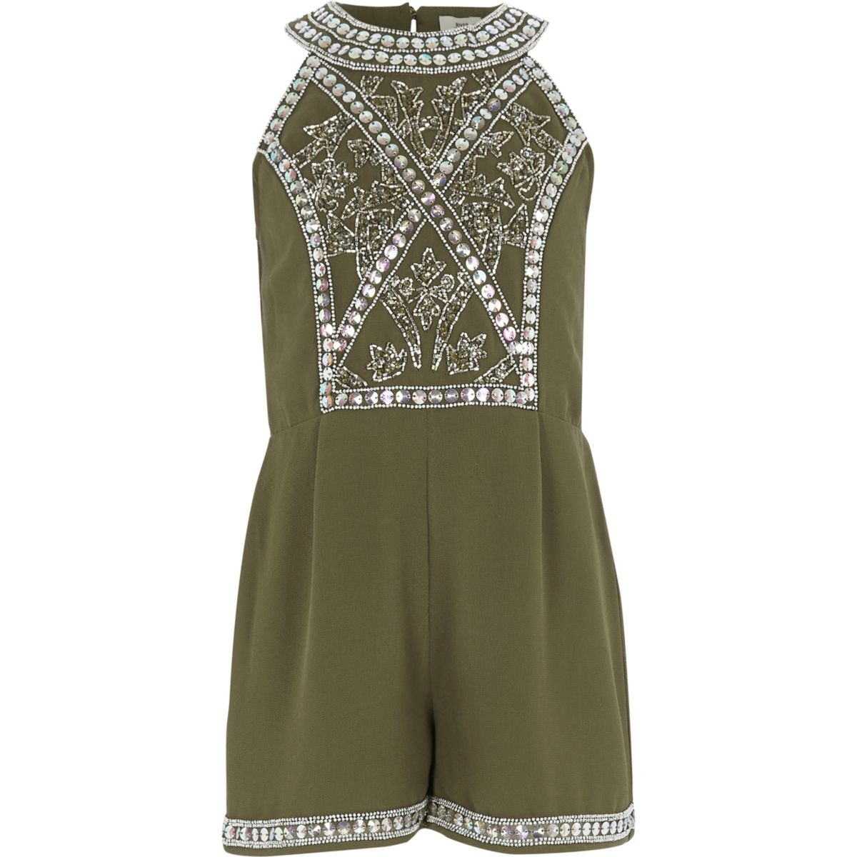 Girls khaki green embellished romper