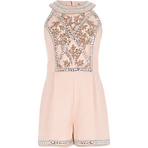 Girls light pink embellished playsuit