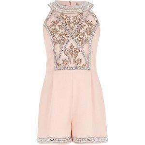 Girls light pink embellished romper