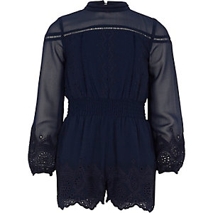 Girls navy embroidered romper