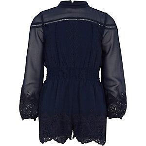 Combishort brodé bleu marine pour fille