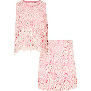 Ensemble top et jupe roses avec superposition en dentelle pour fille