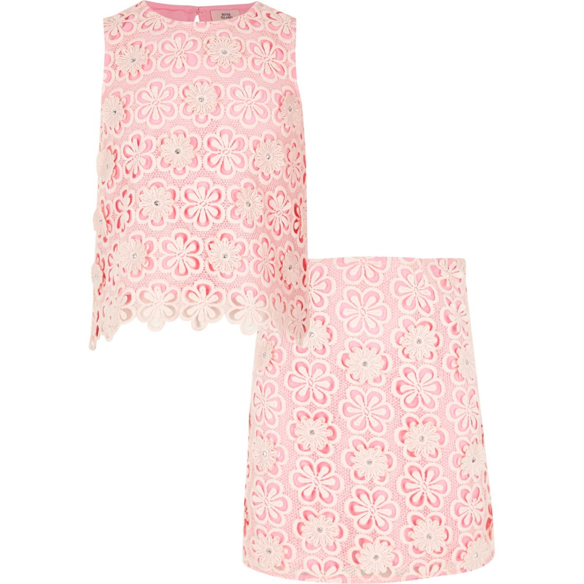 Girls pink lace shell top and skirt outfit